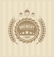 beer cap and wheat single colored label vector image