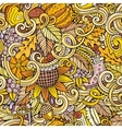 Cartoon cute doodles autumn seamless pattern vector image vector image