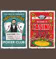 casino poker jackpot croupier and gambling cards vector image vector image