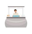 cheerful bartender at the bar counter barman vector image vector image