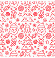 christmas seamless pattern - santa and candy canes vector image vector image