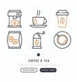 coffee and tea cooking thin line icons set vector image