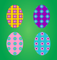 Colorful easter eggs on green background vector image vector image
