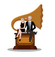 couple male female sit on gramophone old music vector image vector image