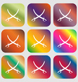 Crossed saber sign icon Nine buttons with bright vector image vector image