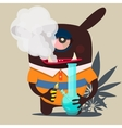 cute monster graphic smokes marijuana vector image