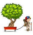 girl pulling wagon with green tree vector image vector image