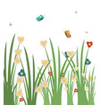 grass with flowers blooming and flying butterflies vector image vector image