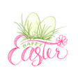 happy easter card with eggs in grass religion vector image vector image