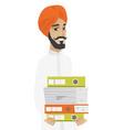 hindu businessman holding pile of folders vector image vector image