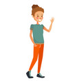 isolated young caucasian girl waving her hand vector image
