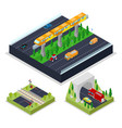 isometric urban road with modern railway vector image vector image