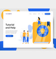landing page template tutorial and help vector image