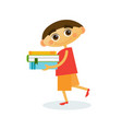 little boy walk holding stack of books reading vector image