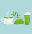 matcha tea set cartoon flat vector image vector image