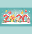 new year 2020 greeting card houses gifts balls vector image vector image