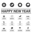 new year and weather icons vector image vector image