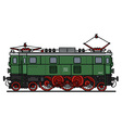 Old green electric locomotive vector image vector image