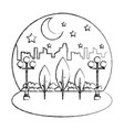 park in city night sky landscape vector image