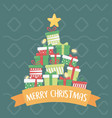 pile gift boxes lights star celebration merry vector image