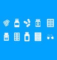 pills icon blue set vector image