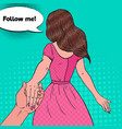 pop art brunette woman holding hands follow me vector image vector image