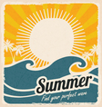 Retro summer holiday poster with sea and waves vector image vector image