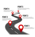 road infographic curved timeline with red vector image