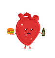 sad unhealthy sick heart with bottle vector image vector image