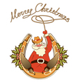 Santa in cowboy shoes and lasso sit on lucky vector image vector image
