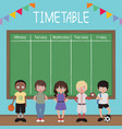 school timetable with kids and blackboard vector image vector image