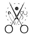 scissors needle and spool thread silhouette vector image vector image