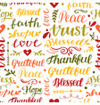 seamless christian pattern with hand lettering vector image