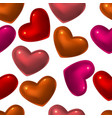 seamless pattern with red glass hearts vector image vector image