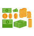set coins and paper currency in flat style vector image