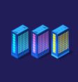 set isometric modern buildings night business vector image