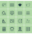 set of 16 education icons includes academy vector image vector image