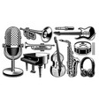 set of black and white of musical instruments vector image