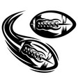 set two templates for american football flying vector image vector image