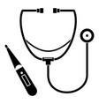 stethoscope thermometer icon simple style vector image