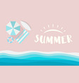 summer logo on pink beach with sea waves vector image