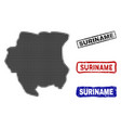 suriname map in halftone dot style with grunge vector image