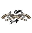 Vintage gun crossed pistols Hand drawn sketch vector image vector image