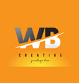 wb w b letter modern logo design with yellow vector image vector image