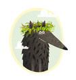 wolf cute portrait with laurel vector image vector image