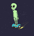 alien flies on gyro scooter vector image