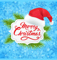 banner with hat of santa claus vector image