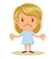 beautiful young blonde girl sad making thumbs down vector image vector image