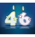 Birthday candle number 46 vector image vector image