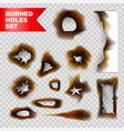 burnt holes scorched paper isolated set on vector image vector image
